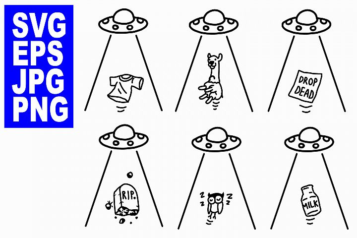 UFO Abduction Set 2- EPS/SVG/JPG/PNG