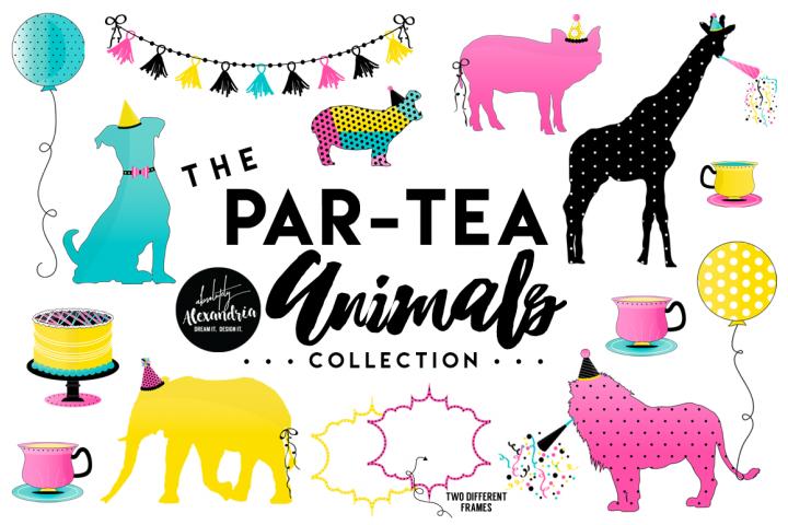PAR-TEA Animals Clipart Graphics & Digital Paper Patterns Bundle