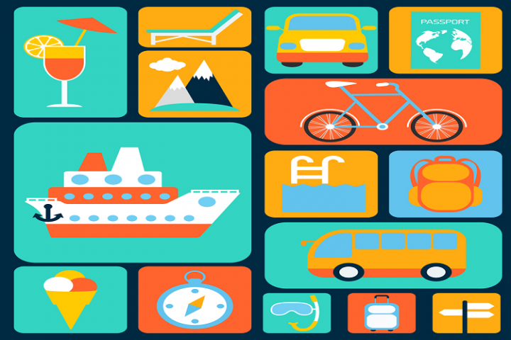 Color travel icon vector material