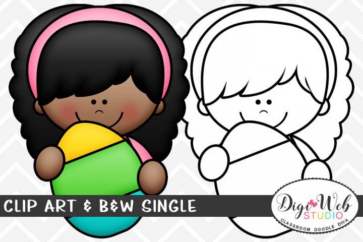 Clip Art & B&W Single - Easter Girl w/ Easter Egg Topper