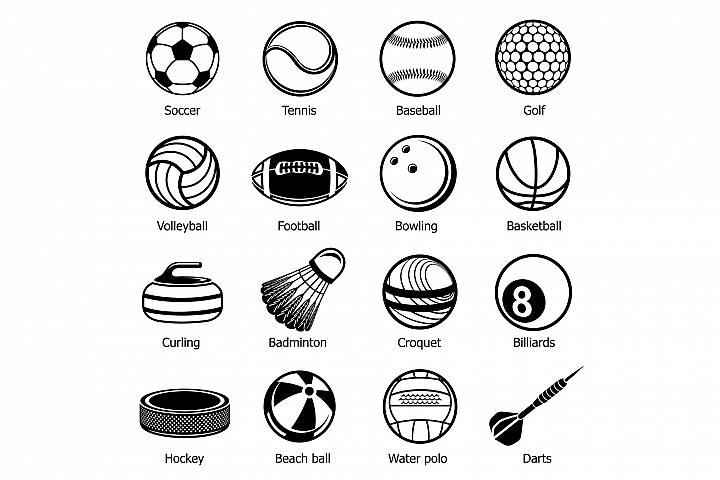 Sport balls equipment icons set, simple style