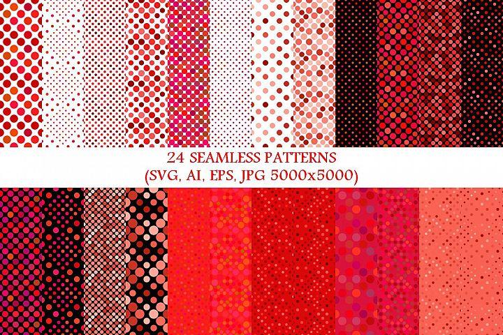 24 Seamless Red Dot Patterns