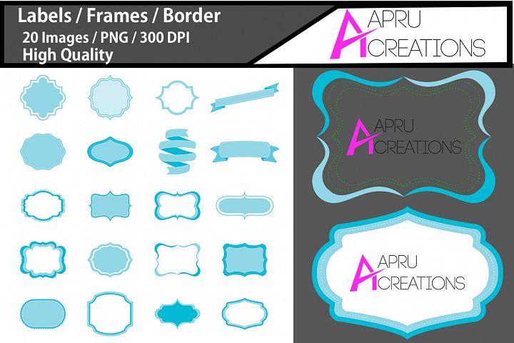 digital frames clipart / light blue label vector cut file SVG / label SVG / frames SVG/ border / printable high quality designs / hand drawn frames