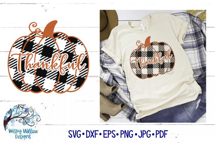 Thankful Buffalo Plaid Pumpkin SVG | Fall Pumpkin SVG