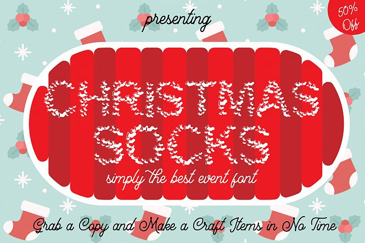 Christmas Socks Font - A Cute Wearable Event Font