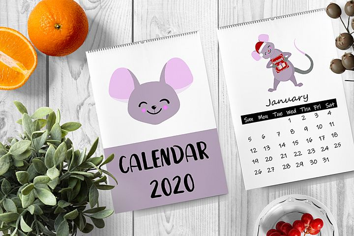 Funny calendar for 2020 with funny mice. 12 pages cover.Week