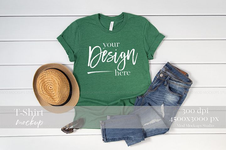 T Shirt Mock up Heather Grass Green 3001 Bella Canvas Mockup