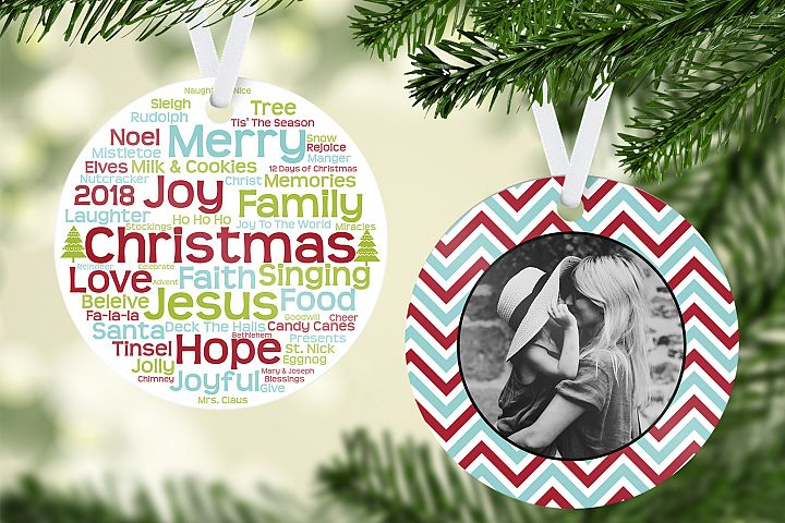 Christmas Words Ornament Template