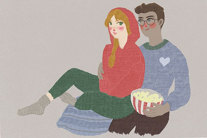 Romantic couple sitting and hugging - lovely cartoon art