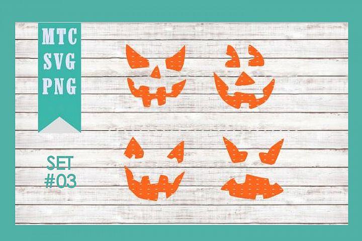 jack OLantern Faces Halloween Pumpkin SET #03 SVG Cut File