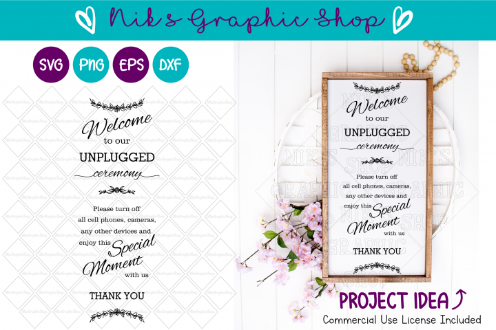 Unplugged Ceremony SVG, Unplugged SVG, Ceremony SVG, Wedding