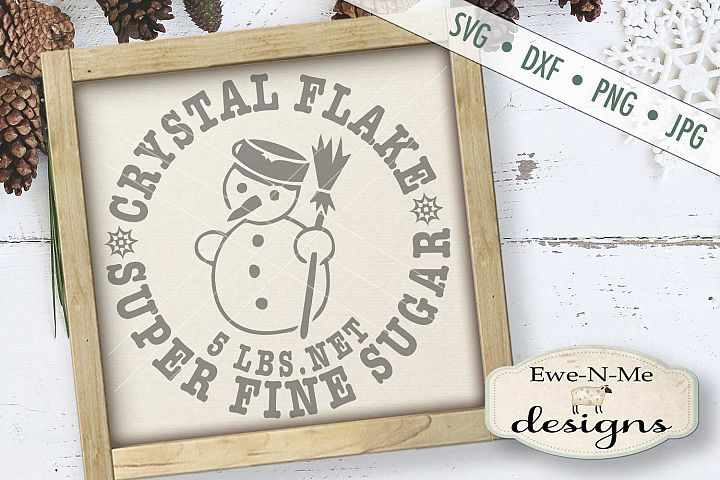 Crystal Flake Super Fine Sugar Snowman Winter SVG DXF Files