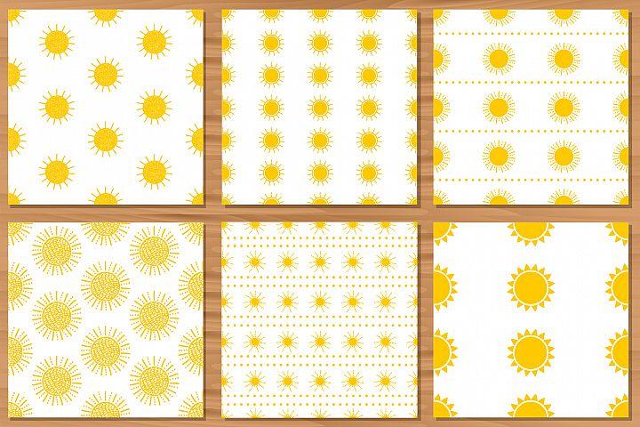 Sun. 6 Seamless patterns. Digital paper.