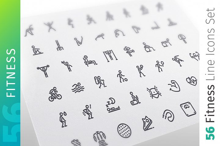 Fitness Line Icons Set