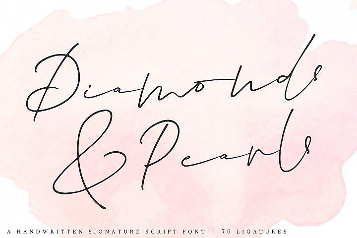Diamonds & Pearls | A Handwritten Signature Script Font