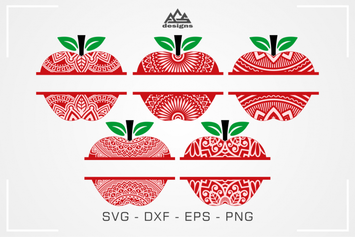 Apple Mandala Pattern Split Frame Svg Design