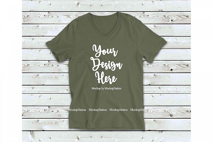 Military Green Shirt Mock Up, Bella Canvas 3005 V-Neck Tee