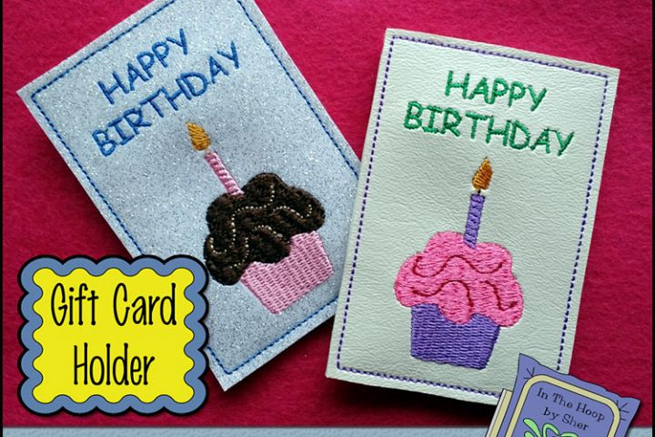 ITH Cupcake Gift Card Holder - Birthday Gift Card Holder - Machine Embroidery