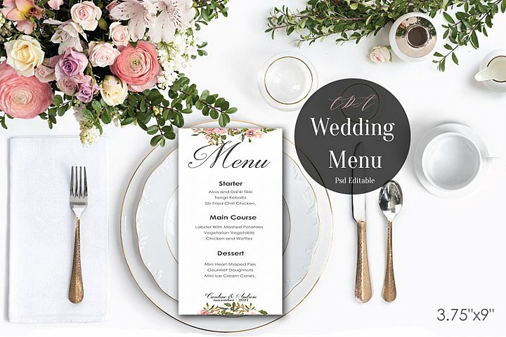 Vintage Wedding Menu Template | PSD Instant Download