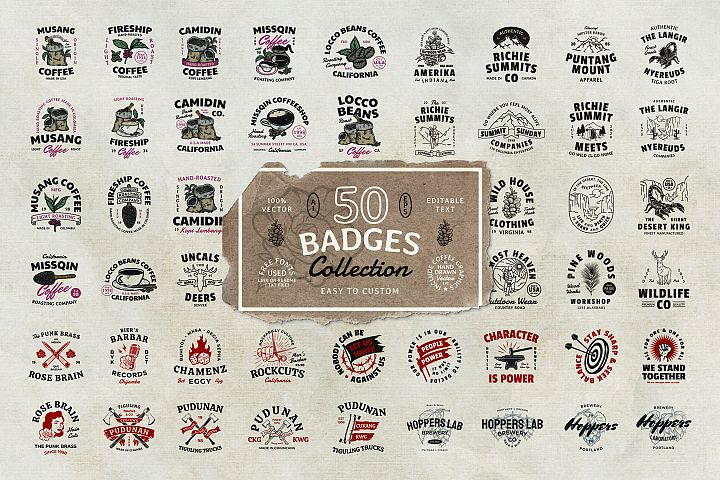 50 Badges Bundle with Extra Coffee Graphics