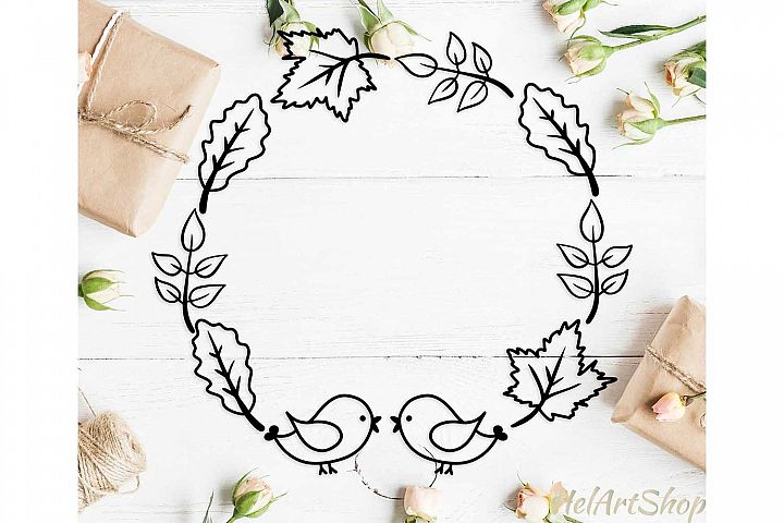 Fall leaves frame svg, fall wreath svg, autumn leaves svg
