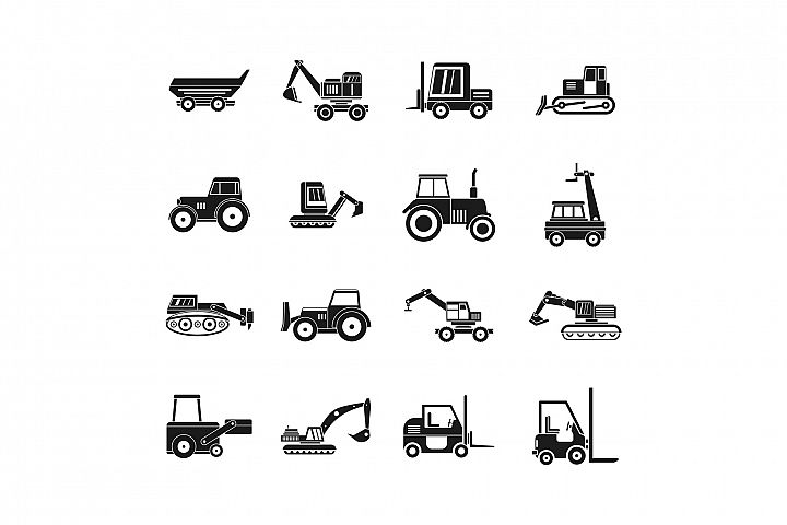 Construction vehicle icon set, simple style
