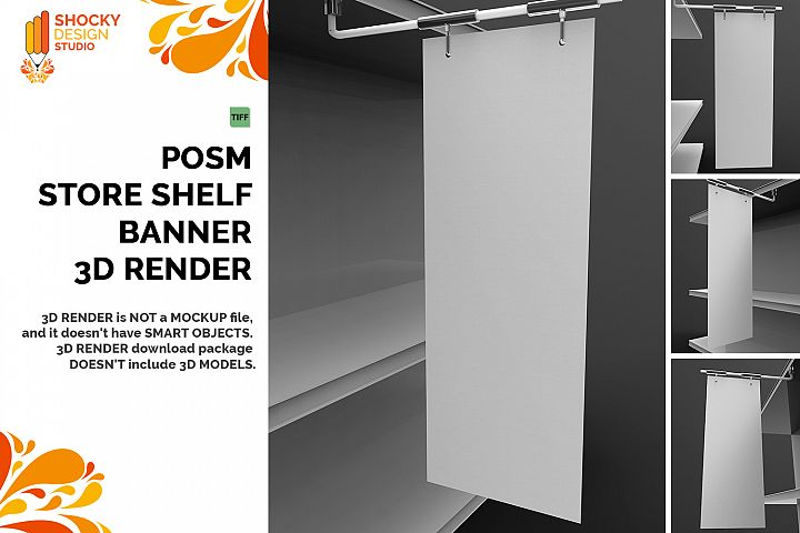 POSM Store Shelf Banner 3D Render