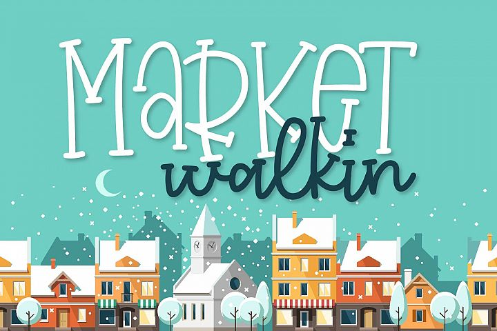 Market Walkin - A Fun Monoline Serif Duo