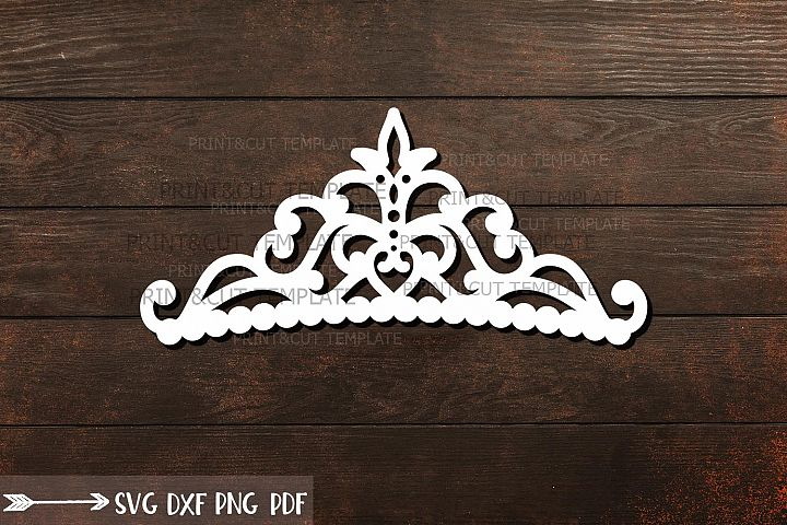 Princess Crown template for plotter laser cut svg digital