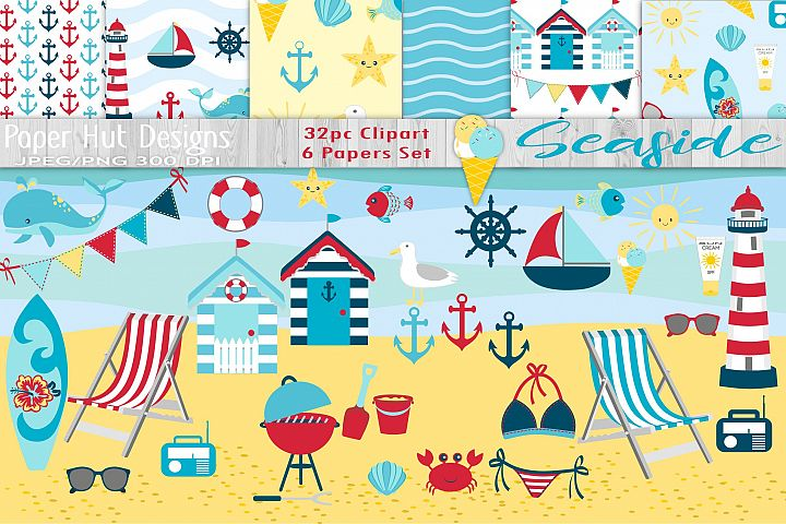 Beach Clipart and Digital Papers Set