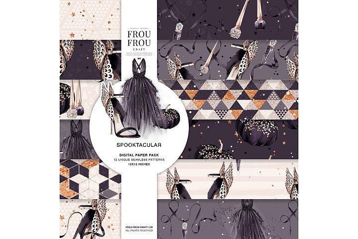 Halloween Fashion Black Dress Gold Jewelry Paper Pack