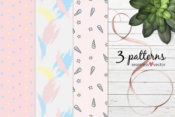 Pastel set of patterns EPS
