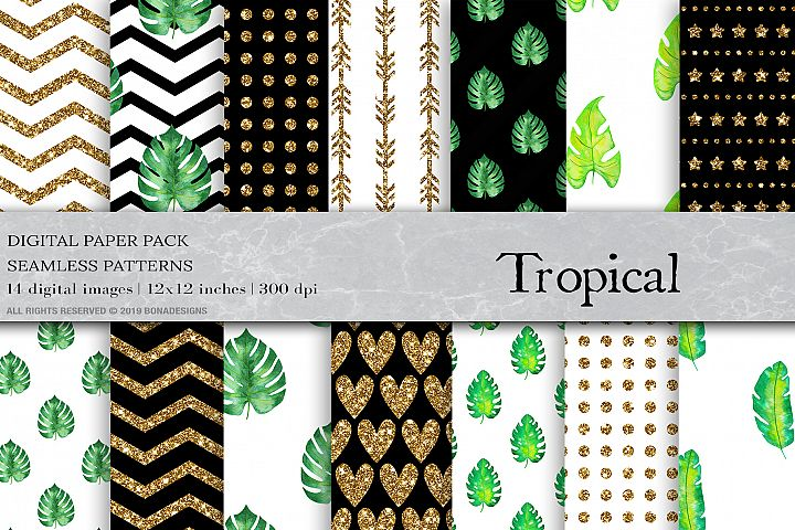 Watercolor Tropical Digital Papers, Tropical Patterns