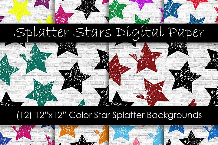 Stars Pattern Digital Papers - Multi-Color Star Backgrounds