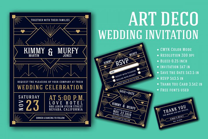Art Deco Wedding Invitation Card Template
