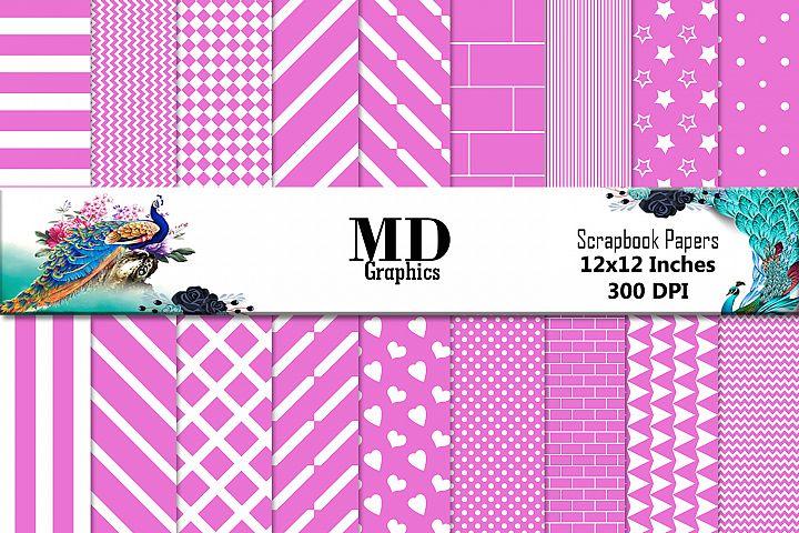 Pink White Stripes, Digital Stripes Papers,Digital Scrapbook