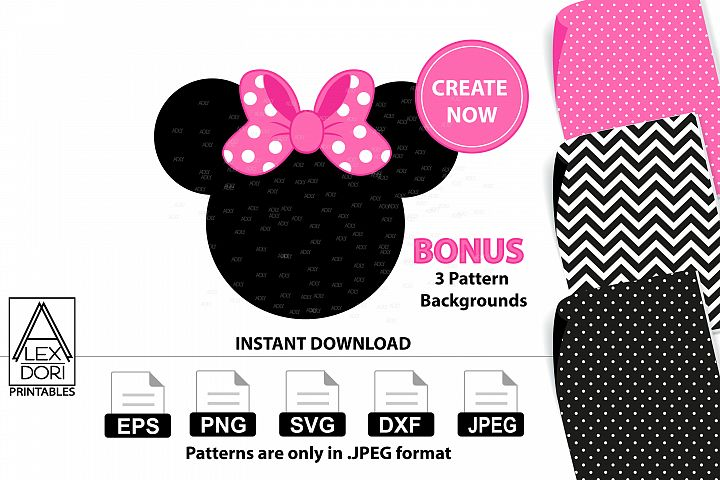 Minnie Mouse PNG for Girl Birthday with Backgrounds-3