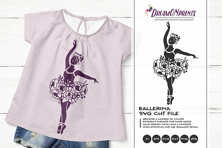 Ballerina with Flowers SVG | Ballet Dancer Illustration
