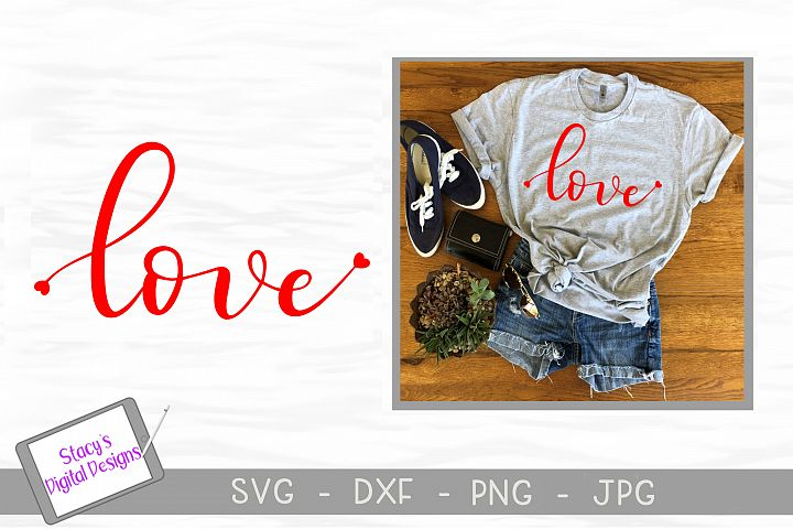 Love SVG with hearts - Valentine SVG file, handlettered example 1