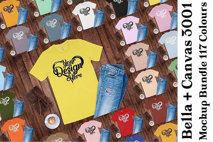 Bella Canvas 3001 Mockup Bundle T-Shirt Mock Ups 136
