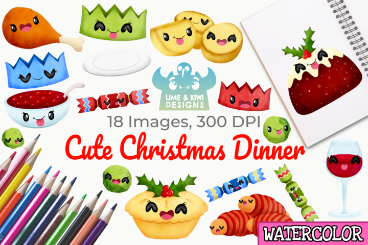 Cute Christmas Dinner Watercolor Clipart, Instant Download