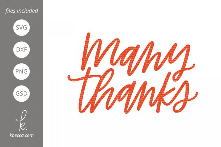 Many Thanks SVG Cut Files