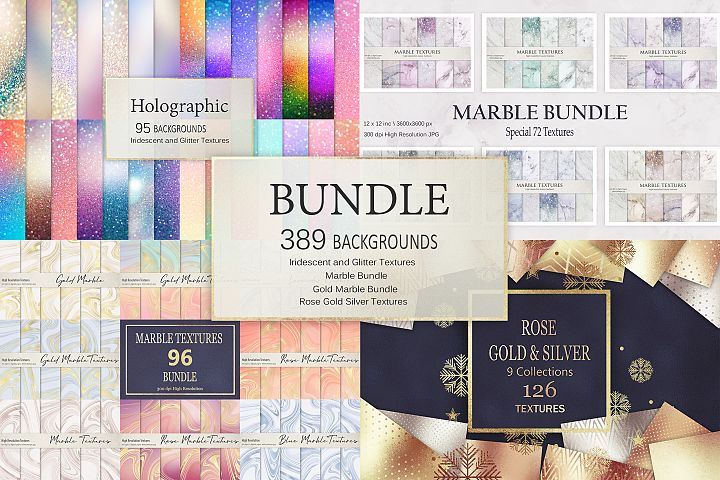 Gold Marble and Iridescent Glitter Textures BUNDLE
