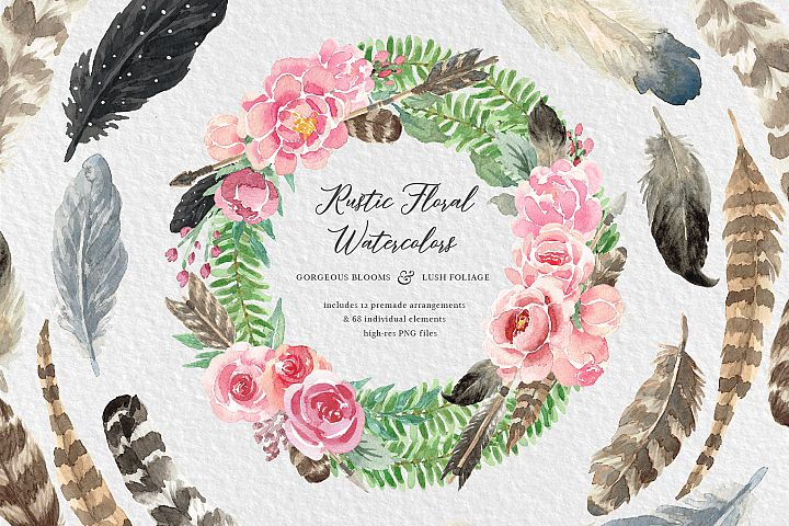 Rustic Watercolor Floral Design Kit