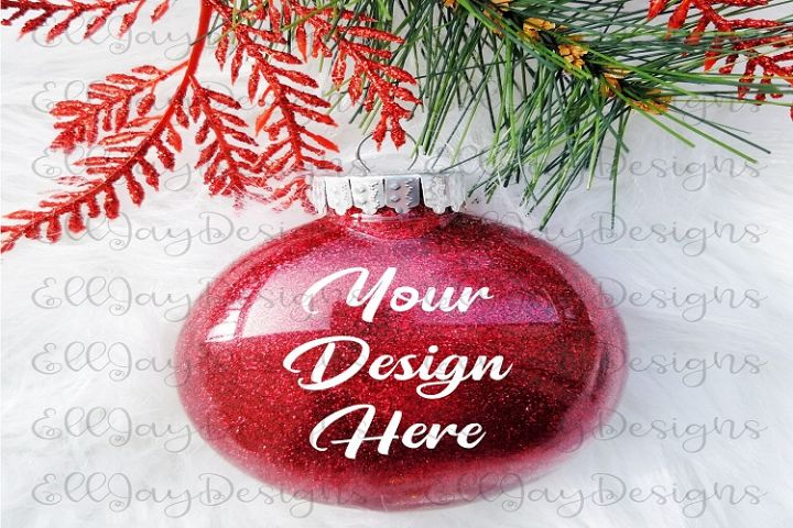 Red Christmas Glitter Ornament Mock up