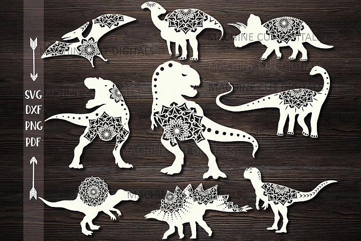 Mandala Floral Dinosaurs Bundle cut out templates svg dxf