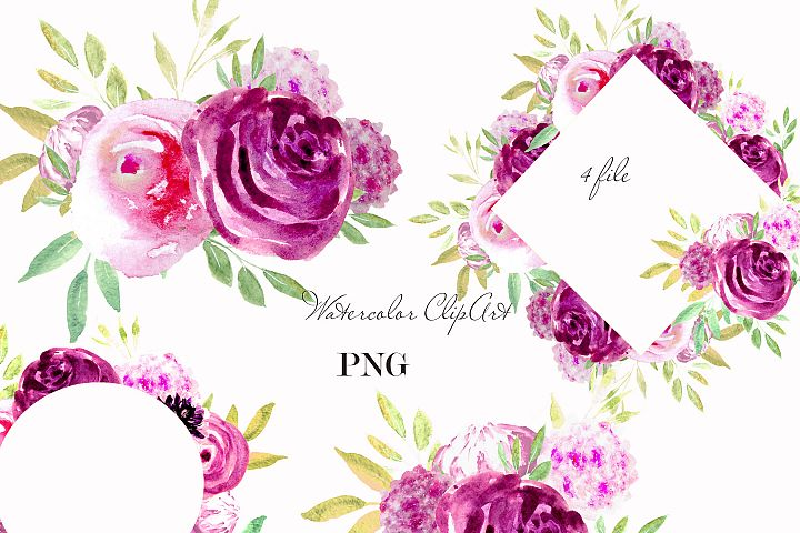 Rose Watercolor Clipart Pink Purple