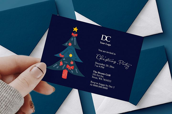 Navy Christmas Party Invitation Ms Word Template
