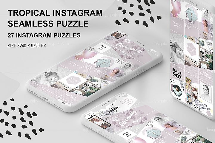 Tropical Instagram seamless puzzle