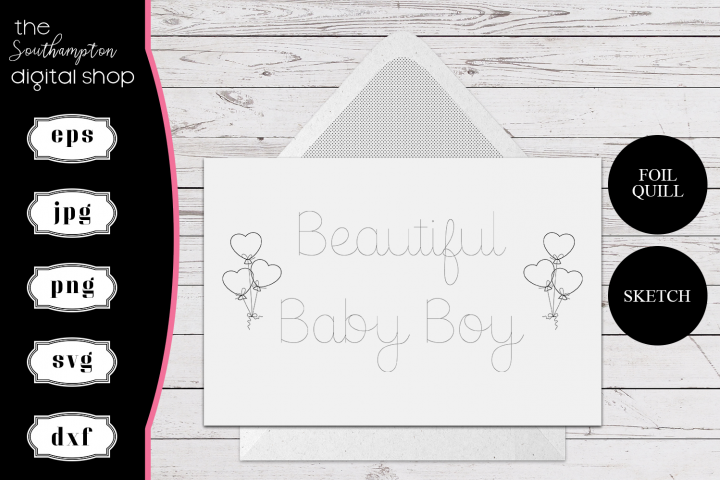 Beautiful Baby Boy Foil Quil Card Design
